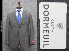 通年物 英国生地 [DORMEUIL]ドーメル  スタイリッシュ2釦シングルスーツ グレー/中格子 [YA体][A体] HL3202