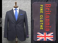 秋冬物 英国生地 [Britannia]ブリタニア  スタイリッシュ2釦シングルスーツ 紺/ストライプ [A体][AB体] HL3203