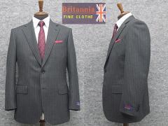 秋冬物 英国生地 [Britannia]ブリタニア  ベーシック2釦シングルスーツ グレー/ストライプ [E体] HLE3305