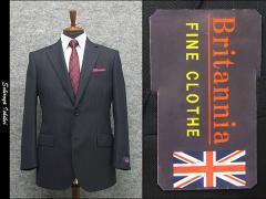 秋冬物 英国生地 [Britannia]ブリタニア  ベーシック2釦シングルスーツ 紺/ストライプ [AB体][BE体] HLR3304