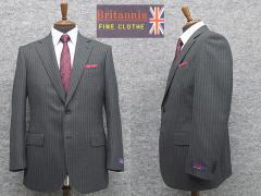 秋冬物 英国生地 [Britannia]ブリタニア  ベーシック2釦シングルスーツ グレー/ストライプ [AB体][BE体] HLR3305