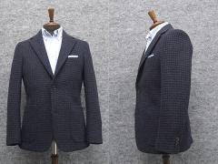 手織り風ドビー生地 秋冬物 ツイード スタイリッシュジャケット [AB体] グレー系/格子 シングル2釦 SEJ65133