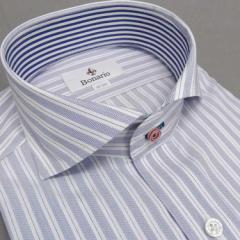 [BONARIO] ワイシャツ スリムフィット ホリゾンタルカラー 長袖 白×青 ストライプ 綿100% 形態安定 ドレスシャツ bon08-455