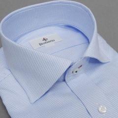 [BONARIO] ワイシャツ スリムフィット ワイドカラー 長袖 白×青 マイクロチェック風 綿100% 形態安定 ドレスシャツ bon13-250