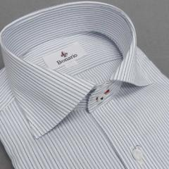 [BONARIO] ワイシャツ スリムフィット ワイドカラー 長袖 白地×濃紺×灰 ストライプ 綿100% 形態安定 ドレスシャツ bon13-480