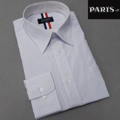 長袖ワイシャツ 白×青系 ストライプ レギュラー PARIS-16e 形態安定 HKP-R07