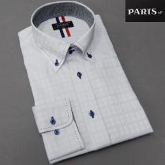 長袖ワイシャツ グレー ビル窓格子/チェック ボタンダウン ドゥエボットーニ PARIS-16e 形態安定 S-3L HKP28