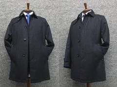 ビジネスコート トレンチ風 最新ウール素材 [A体][AB体]対応 レギュラーフィット3釦コート 紺系 SK1403-NV