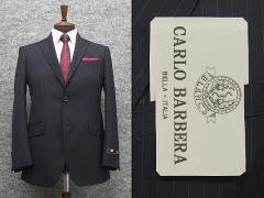 伊カルロ・バルベラ社生地使用 ベーシック2釦シングルスーツ 濃紺/ストライプ [A体][AB体] メンズスーツ BBR999B