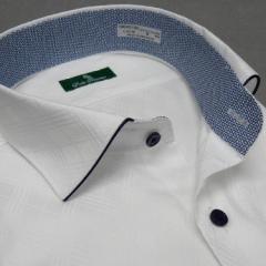 [DUKE TRIMMER] ワイシャツ ワイド衿 長袖 白 アーガイル格子 ジャガード生地 形態安定 ドレスシャツ DKT03