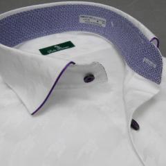 [DUKE TRIMMER] ワイシャツ ワイド衿 長袖 白 大柄千鳥格子 ジャガード生地 形態安定 ドレスシャツ DKT04