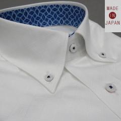 [758Bespoke.J] [FATTURA] 長袖ワイシャツ 白地/籠編柄 綿100% 日本製 ボタンダウン メンズドレスシャツ BSJ9604-1