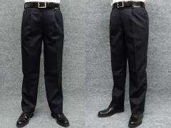 [NORMAN HILTON]ノーマンヒルトン 高級スラックス 毛100% 日本製生地使用 黒/無地 ワンタック ビジネスパンツ NHP09
