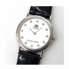 エルベンス eLvence 時計 クオーツ SKC-8 プラチナ製ケース 革ベルト 12Pダイヤ【中古】(26263)