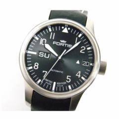 フォルティス FORTIS 時計 F-43 700.10.81 自動巻 裏スケ 黒盤 SS レザーベルト 2012限定(27740)