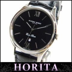 ハンティングワールド HUNTINGWORLD 時計 クオーツ HW801 黒盤  SS×革ベルト【中古】(31923)