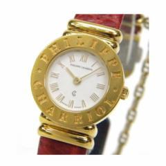 フィリップ・シャリオール CHARRIOL 時計 クオーツ サントロペ 白盤 赤革ベルト【中古】(31925)