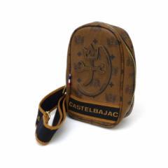 カステルバジャック castelbajac ボディバッグ ロゴ総柄 ブラウン×黒(42793)