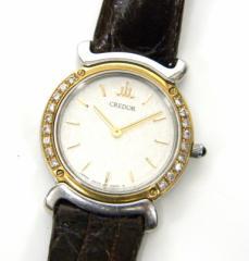 セイコークレドール SEIKO 時計 5A70-0290 クオーツ YGSS×革ベルト ホワイト盤【中古】(18369)