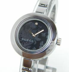 グッチ GUCCI 時計 クオーツ105 ダークグレーフラワー盤  SS 1Pダイヤ(22417)