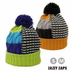 ネコポス発送OK(送料230円) Zazzy Zaps ザジーザップス--クレイジーボーダー ニット帽 (S・M) --ユアーズアーミーワールド--
