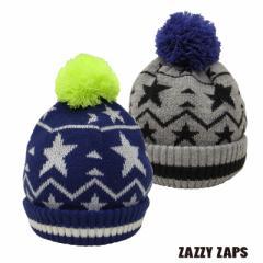 ネコポス発送OK(送料230円) Zazzy Zaps ザジーザップス--スター 星 ニット帽 (M) --ユアーズアーミーワールド--
