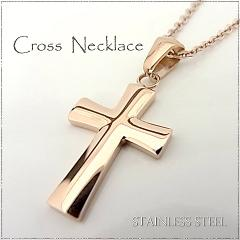 ステンレス ネックレス クロス 十字架 ピンクゴー...