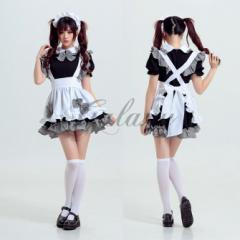 ハロウィン メイド メイド服 コスプレ 仮装 衣装 ブラック チェック柄 新品 かわいい ps2188(ps2188)