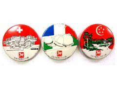 Vintage EXPO 70 大阪万博「7UP」スイス・フランス・シンガポール パビリオン缶バッチ (エキスポ 企業物) 037468【中古】
