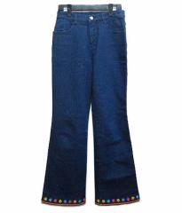 Sugarless gal ベルボトムヒッピー花刺繍デニムパンツ Bell bottom hippie flower embroidery denim pants (シュガーレスカー 040303