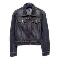 GAP 黒フルジップデニムGジャン (Black full zip denim G Jean) キャップ ブルゾン ジャケット -n 042563