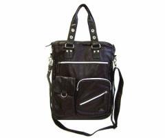 ALPHA クラシックレザーミリタリーショルダートートバッグ (Classic leather military shoulder tote bag) アルファ 044081