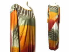GIAN FRANCO FERRE エスニックグラデーションマキシ丈ドレスワンピース (ethnic gradation long dress one-piece) ロング ジャ 045708