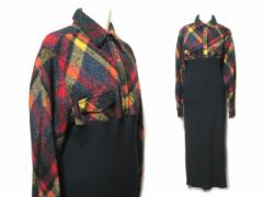 JUNYA WATANABE COMME des GARCONS 1993 クラシックチェックウール切替ニットマキシ丈ワンピース (switching knit long one-piec 050499