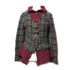 YOSHIKI HISHINUMA「2」ドッキング縮絨ニッジャケット カーディガン (docking knit jacket) ヨシキヒシヌマ 052136