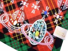 【新品】廃盤 Vivienne Westwood チェックオンオーブ大判ハンカチーフ (ヴィヴィアンウエストウッド) 055101