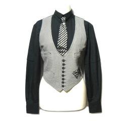 Jean Paul GAULTIER FEMME ジャンポールゴルチエ フェム「40」レイヤードドレスデザインブラウス・シャツ (ゴルチェ) 057423