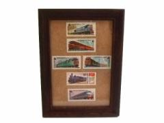 80s vintage cccp ソビエト 鉄道切手 額装 (Soviet railway stamp) ソ連 共産 ロシア スタンプ 電車 蒸気機関車 060893