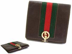 vintage old GUCCI ヴィンテージ オールド グッチ イタリア製 シェリーライン ウォレット 折財布 (ビンテージ) 063112