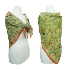 80s vintage MOGA Flower kilt silk scarf 80年代 ヴィンテージ モガ フラワーキルトシルクスカーフ 065204【中古】