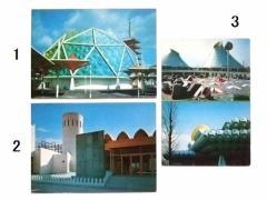 vintage EXPO70「みどり館」「クエート館とアブダビ館」「日本自動車工業会」ヴィンテージ 大阪万博 パビリオン ポストカード 066509