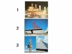 vintage EXPO70「イタリア館」「英国館」「サンヨー館 エキスポタワー」大阪万博 パビリオン ポストカード 066536