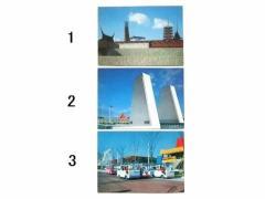 vintage EXPO70「EC館(欧州共同体館)」「メキシコ館」「アルゼンチン館とファミリーカー」大阪万博 パビリオン ポストカード 066551