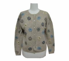 KAREN SCOTT「M」Floral design knit cardigan カレンスコット 花柄 ニット カーディガン (セーター)■