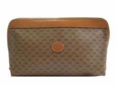 vintage old GUCCI ヴィンテージオールド グッチ イタリア製 モノグラム クラッチ・セカンドバッグ (鞄カバン) 072744【中古】