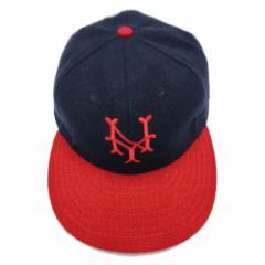 【新品】COOPERSTOWN BALL CAP CO. クーパーズタウン ボールキャップ 紺×赤 ニューヨークキューバンズ (NYCC44 3inch Visor) 076020