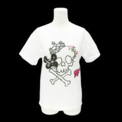 ALGONQUINS アルゴンキン 薔薇刺繍 スパンコール蝶 ドクロ カットソー (半袖Tシャツ) 076301