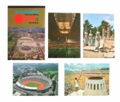 vintage 1964 TOKYO OLYMPIC 東京オリンピック 速報1 毎日新聞社 ポストカード4枚セット (絵ハガキ ヴィンテージ ビンテージ) 076756