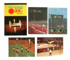 vintage 1964 TOKYO OLYMPIC 東京オリンピック 速報5 毎日新聞社 ポストカード4枚セット (絵ハガキ ヴィンテージ ビンテージ) 076760
