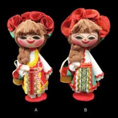 【新品】BULGARIA ブルガリア 民族木製 ハンドメイド 人形 (東欧雑貨 マトリョウシカ) 076890